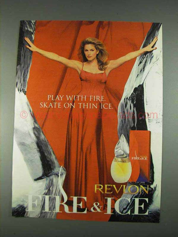 1996 Revlon Fire & Ice Perfume Ad - Cindy Crawford