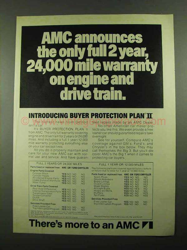1976 Amc American Motors Ad 24 000 Mile Warranty