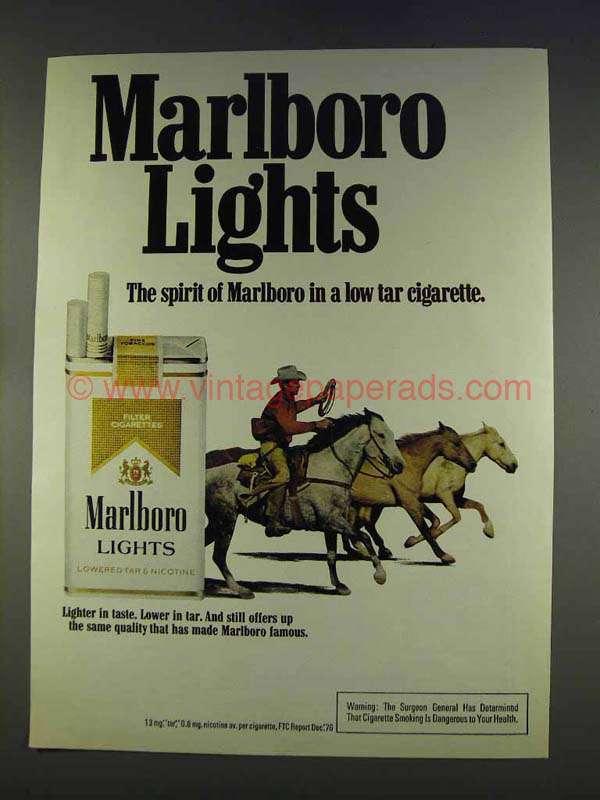 1977 Marlboro Lights Cigarettes Ad - Cowboy