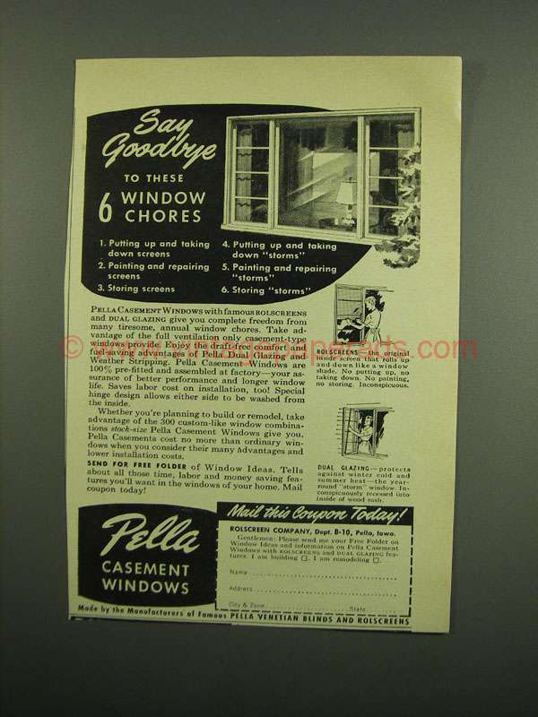 1950 Pella Casement Windows Ad Say Goodbye